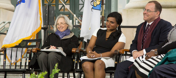 From left at Class Day: HLS Dean Martha Minow, Actress/Comedian Mindy Kaleng, and Tyler
