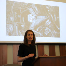 Nicolette Waldman JD '13 pictured giving a talk at HLS on atrocities in Syrian prisons.
