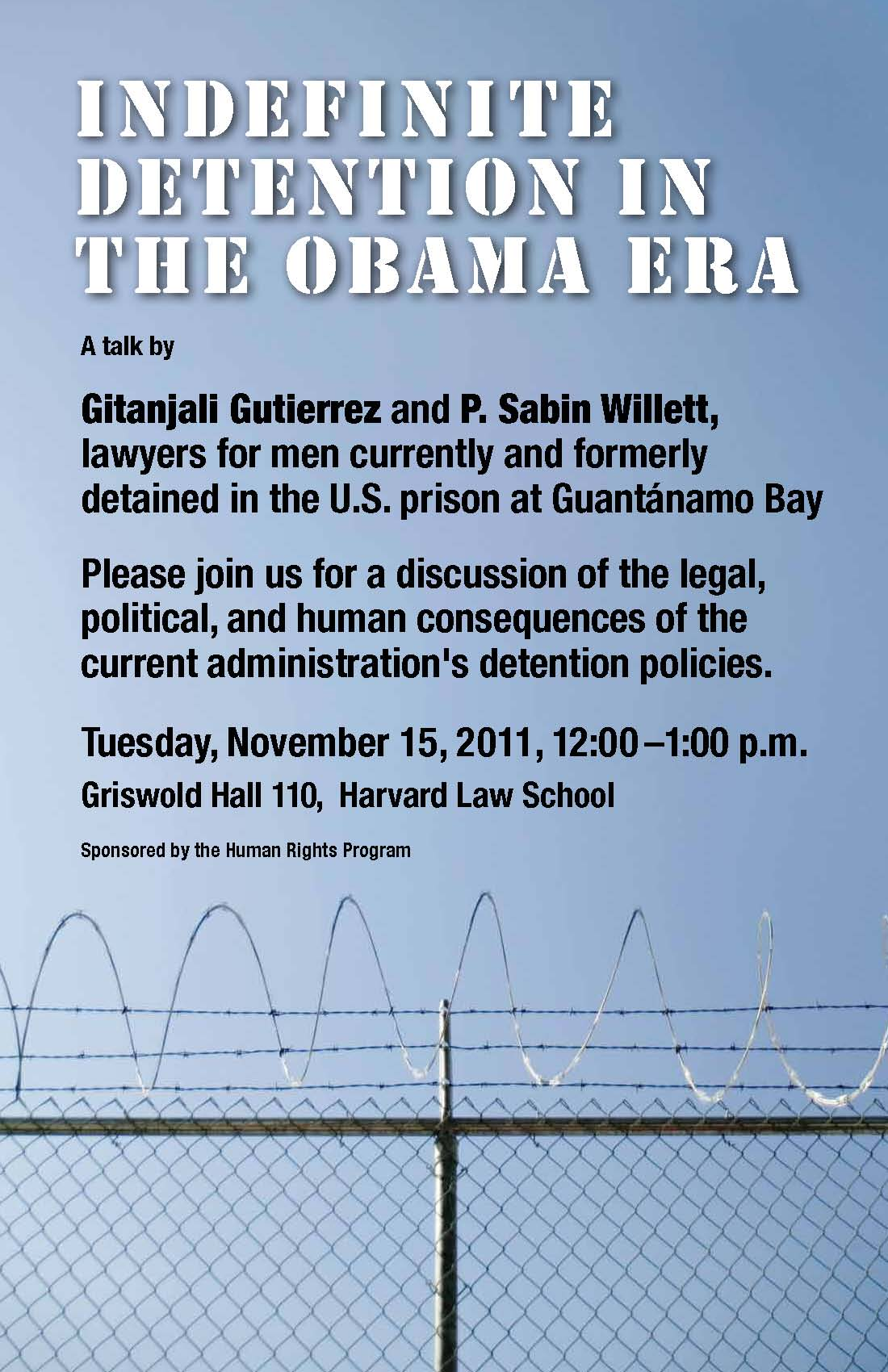 Event poster shows barbed wire and blue sky, gesturing at the U.S. prison in Guantanamo Bay.