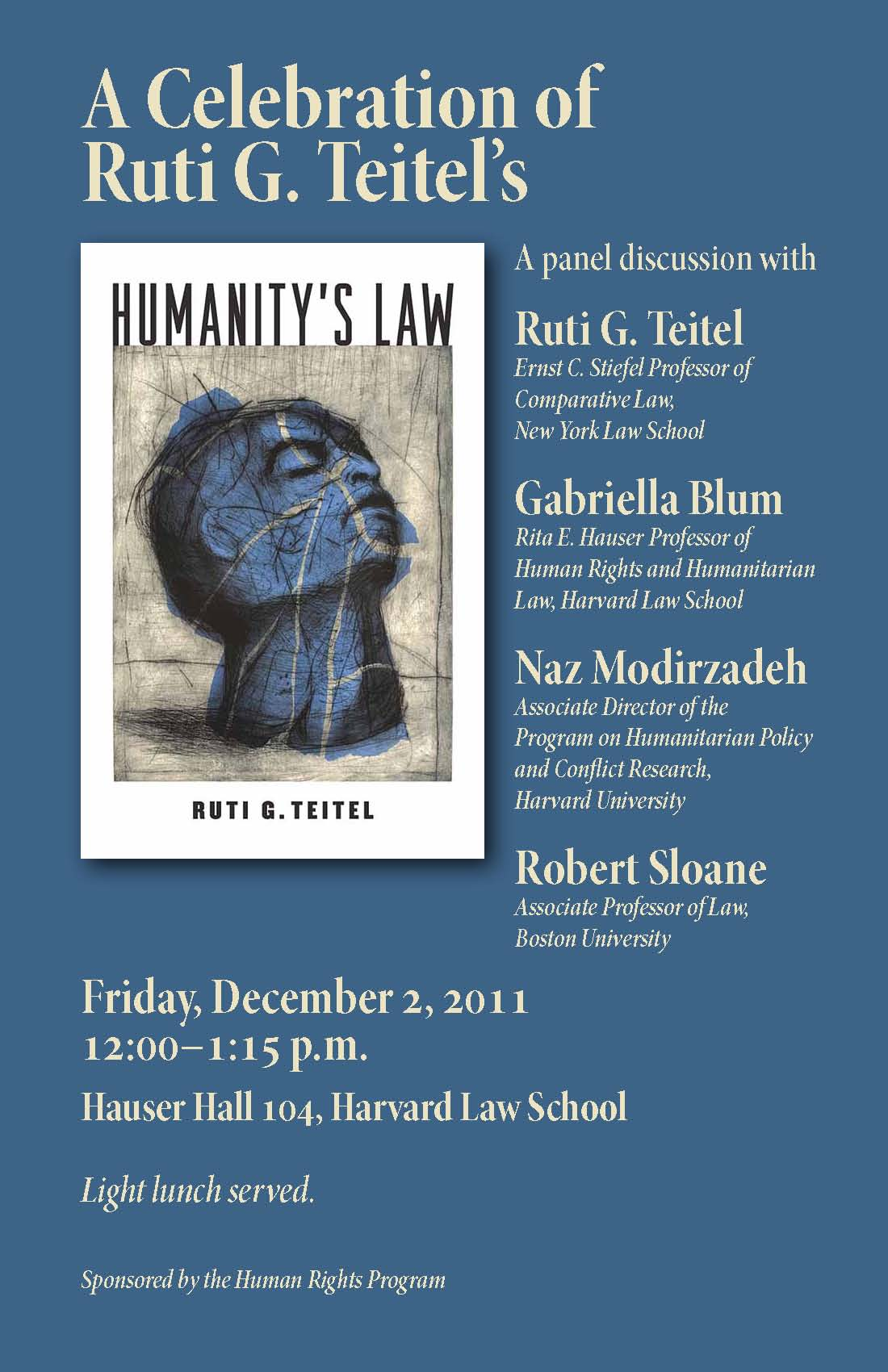 "Event poster has a book cover on it for ""humanity's law,"" with a head illustrated in blue tilted back."