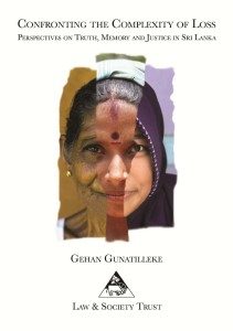 "Book cover for ""Confronting the Complexity of Loss"" shows three faces spliced together to indicate the variation of people affected in Sri Lanka."